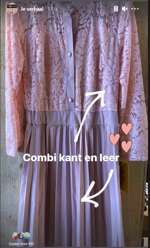 jurk met kant en leerdesign