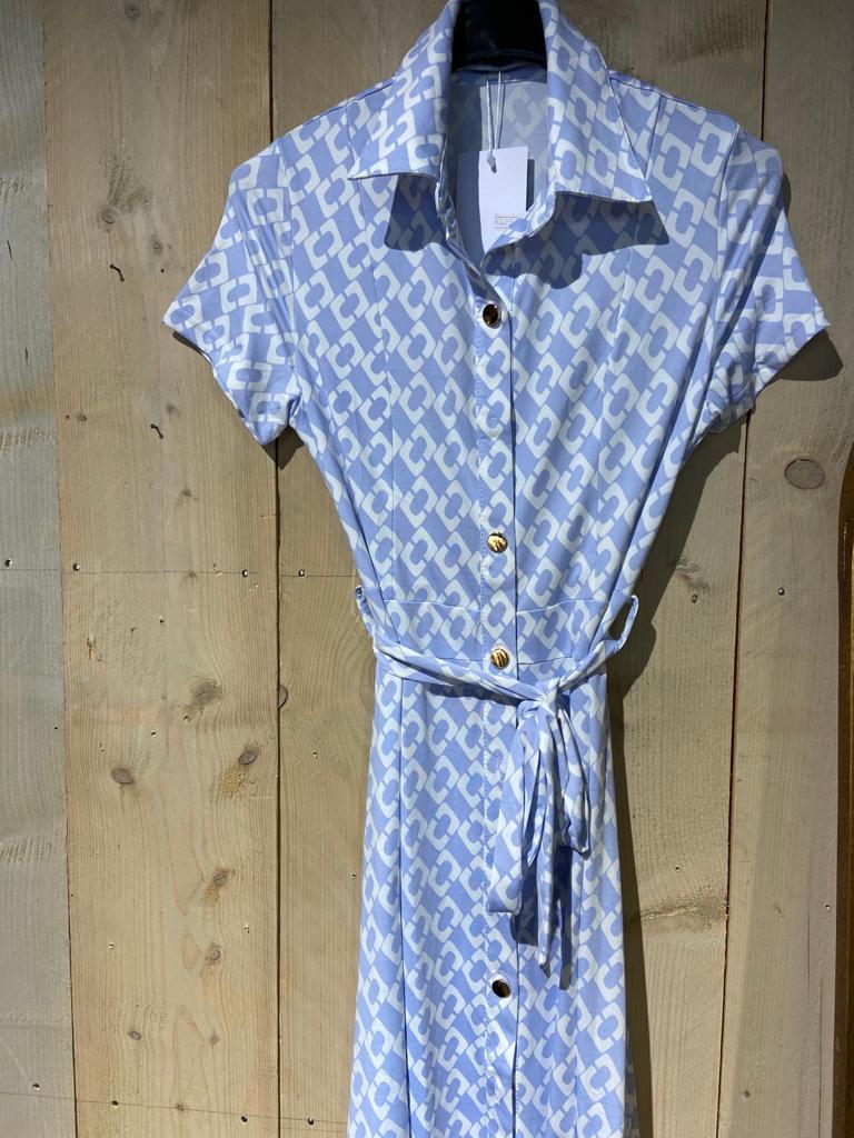 travelstof jurk lichtblauw